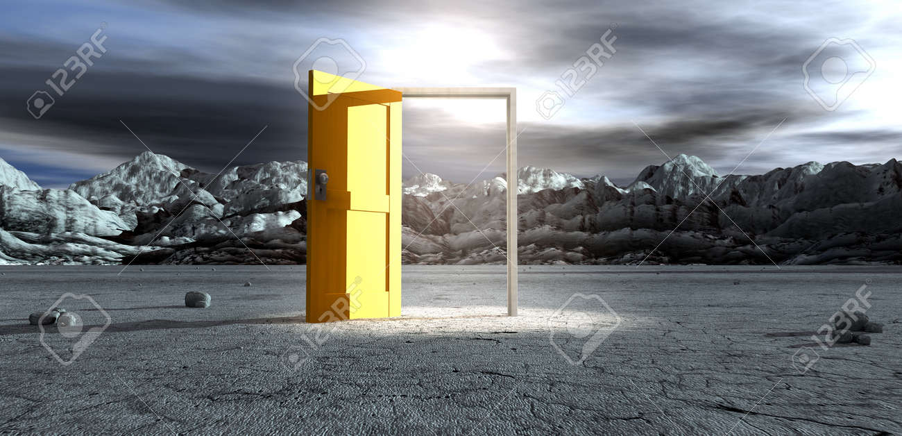 An ominous barren landscape scene with an open isolated yellow door in the centre under an ethereal spotlight Stock Photo - 17794134