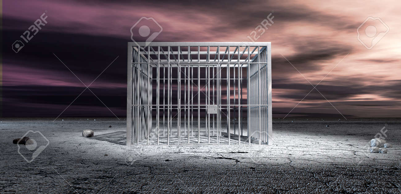 A cubic shaped metal locked jail cell in the middle of a barren landscape under an ominous purple sky Stock Photo - 17794172