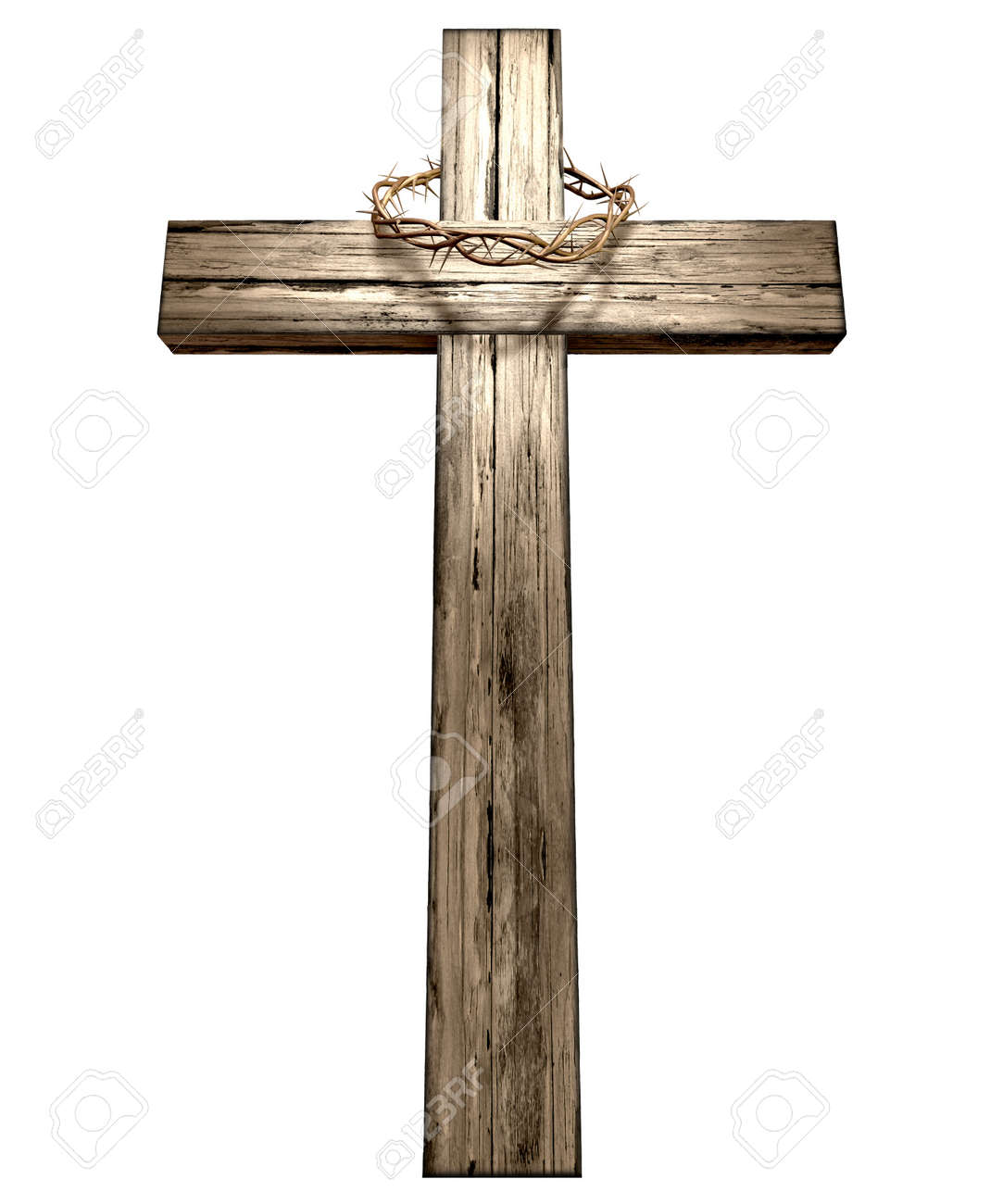 A wooden cross that has a christian woven crown of thorns on it depicting the crucifixion on an isolated background Stock Photo - 17794194