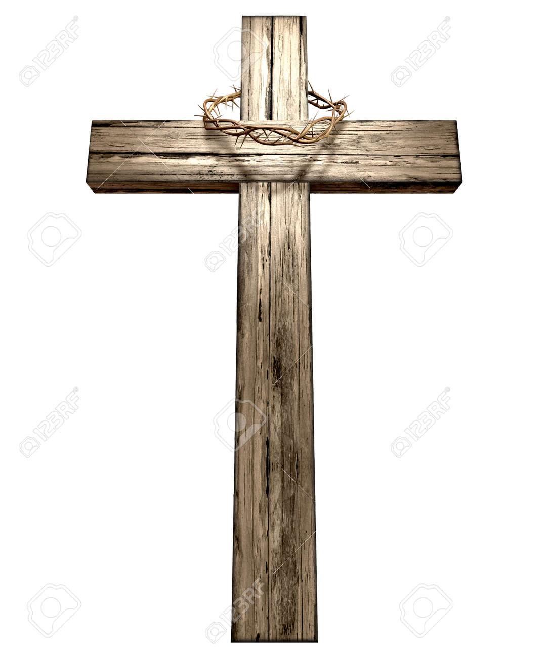 Una Cruz De Madera Que Tiene Una Corona Tejida De Espinas Christian