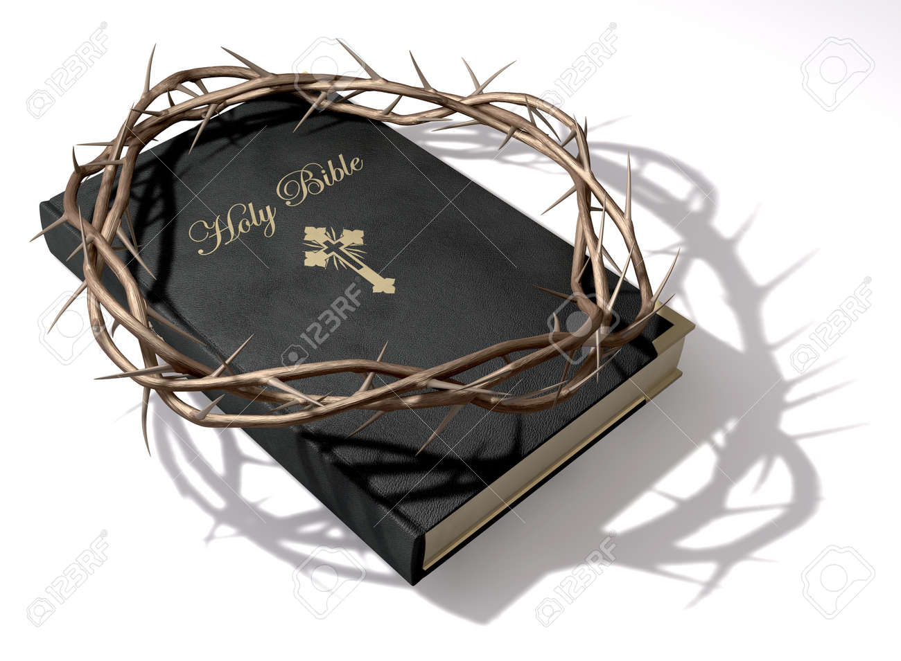 A black leather bible with a gold inscription with a crown of thorns on top of it on an isolated background Stock Photo - 17794199