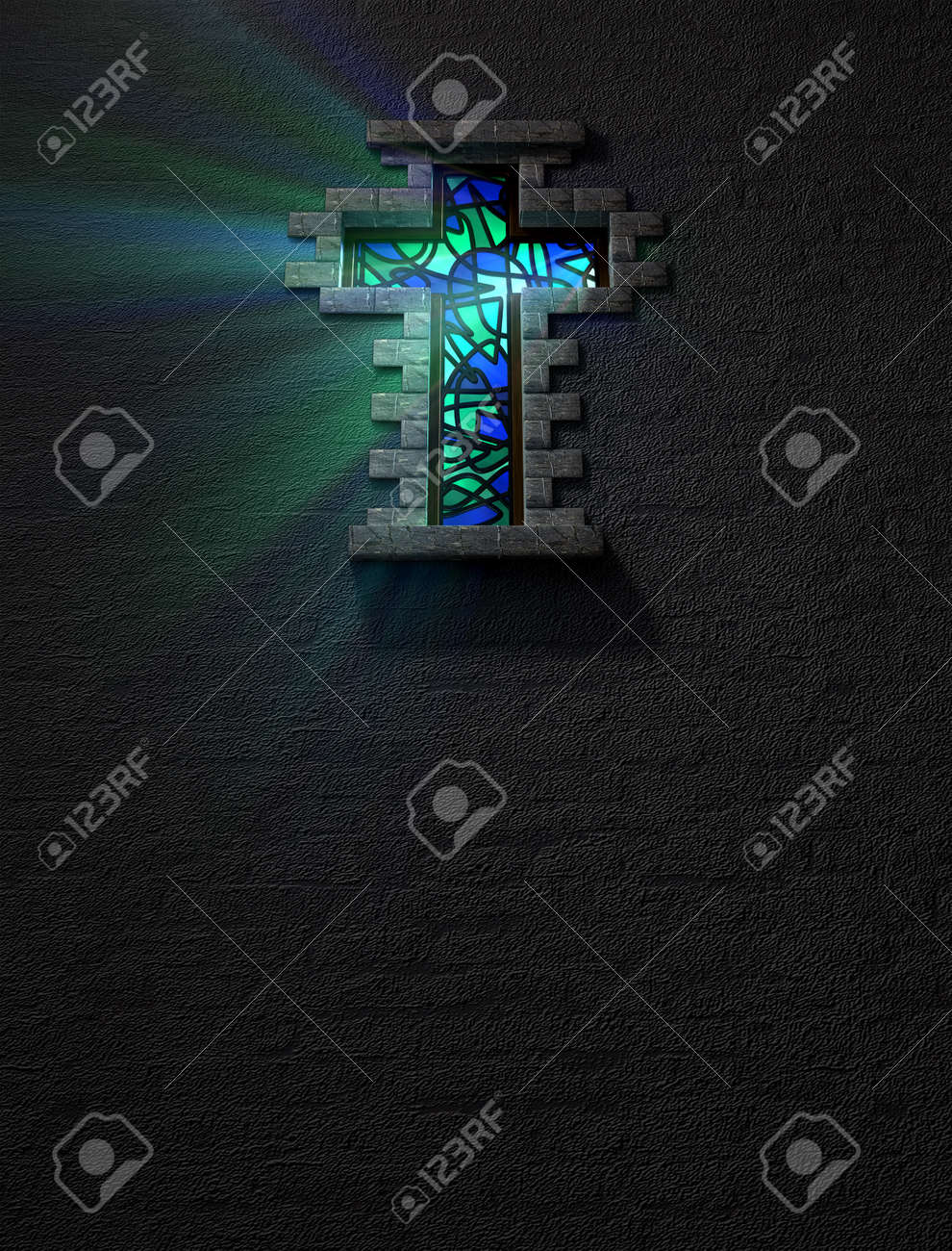 A blue and green patterned stain glass window in the shape of a crucifix with a spotlight shining through it Stock Photo - 17948415