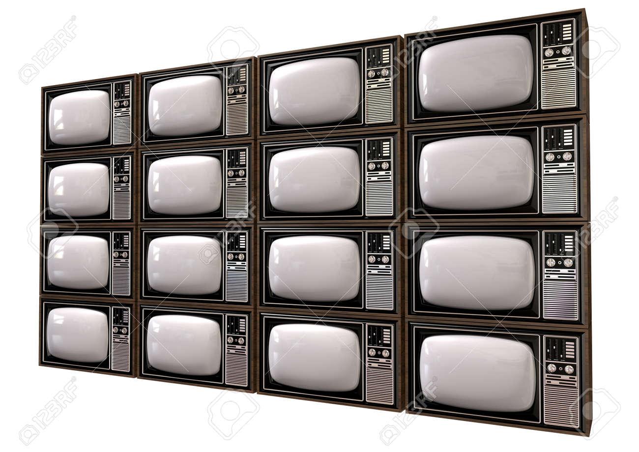 Ein Stapel Von Sechzehn Alten Vintage Röhrenfernseher Mit ...
