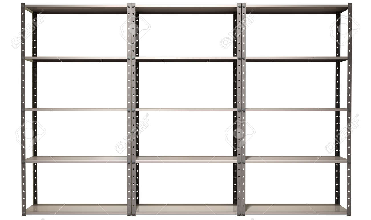 a regular assembled metal warehouse shelving unit on an isolated background stock photo - Metal Shelving Unit