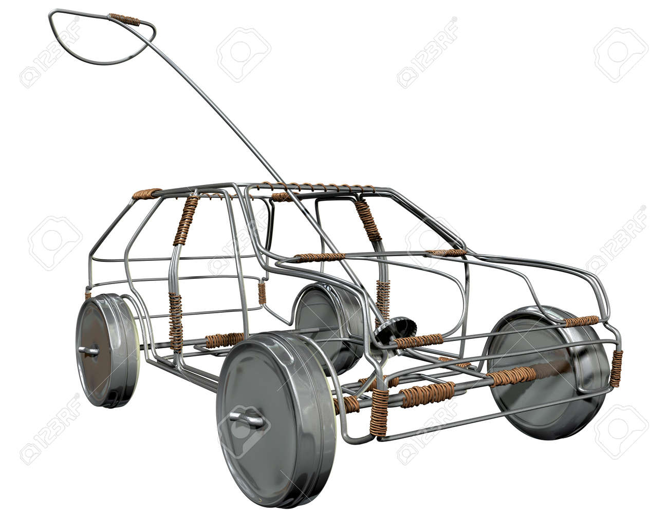 A traditional south african handmade wire toy car made out of metal and copper wire with tin cans as wheels on an isolated background Stock Photo - 19334516