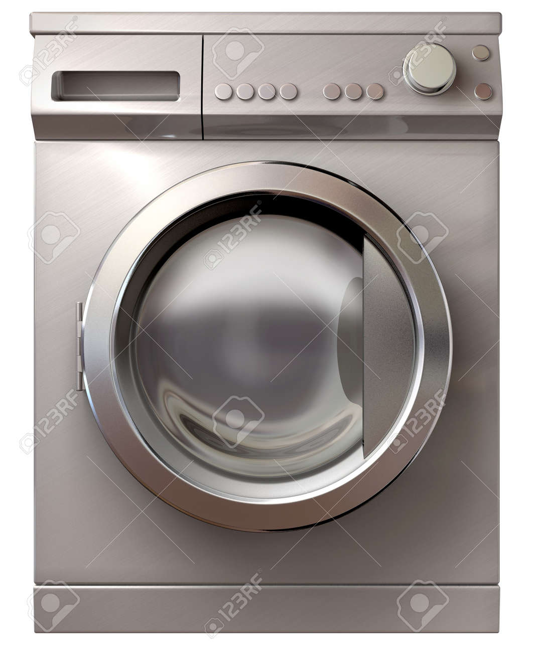 A front view of a regular brushed metal washing machine on an isolated background Stock Photo - 19334523