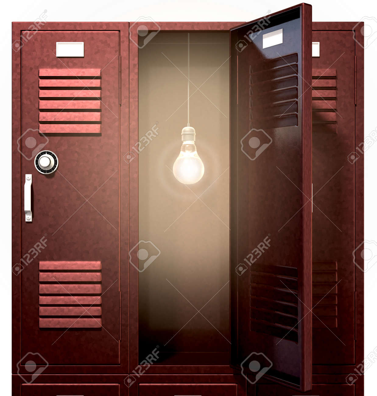 A Stack Of Red Metal School Lockers With One An Open Door Illuminated