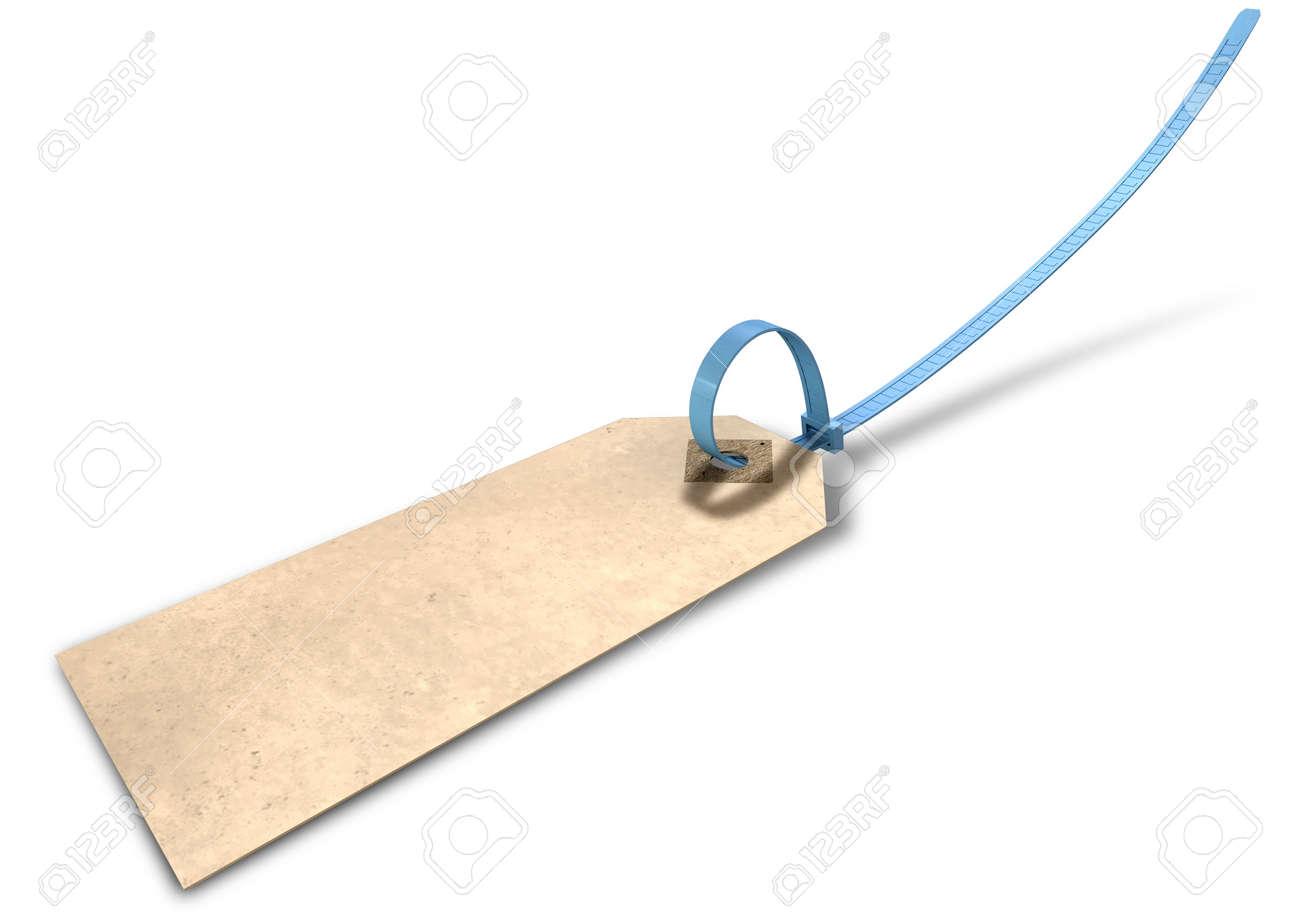 Eine Regelmäßige Beige Farbe Papier-Tag Mit Einem Blauen Kabelbinder ...