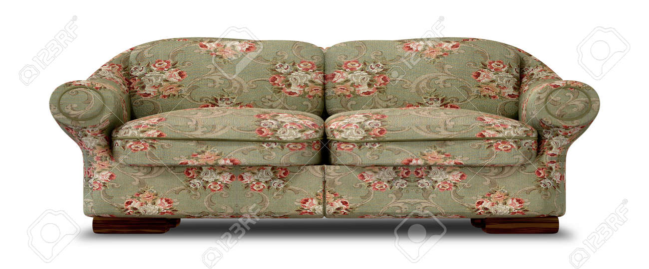 an old vintage sofa with a green and red floral fabric on an isolated background stock - Vintage Sofa