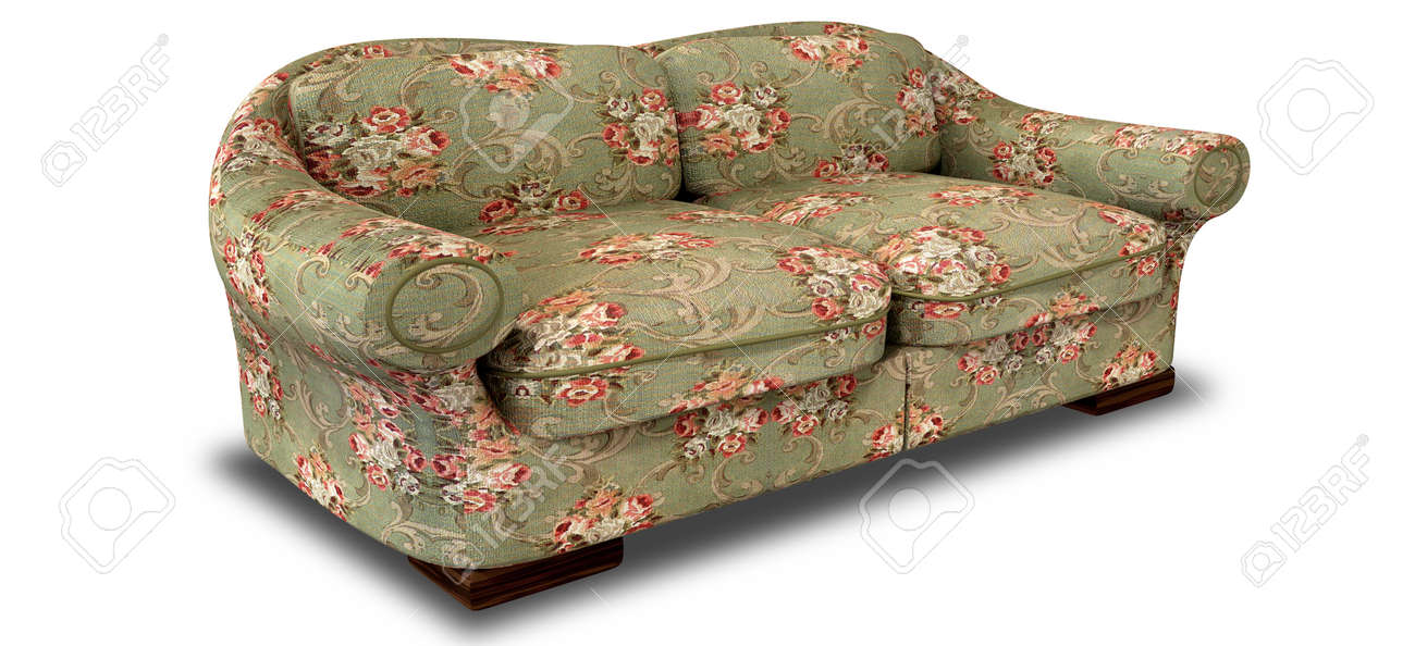 An Old Vintage Sofa With A Green And Red Floral Fabric On An Isolated  Background Stock
