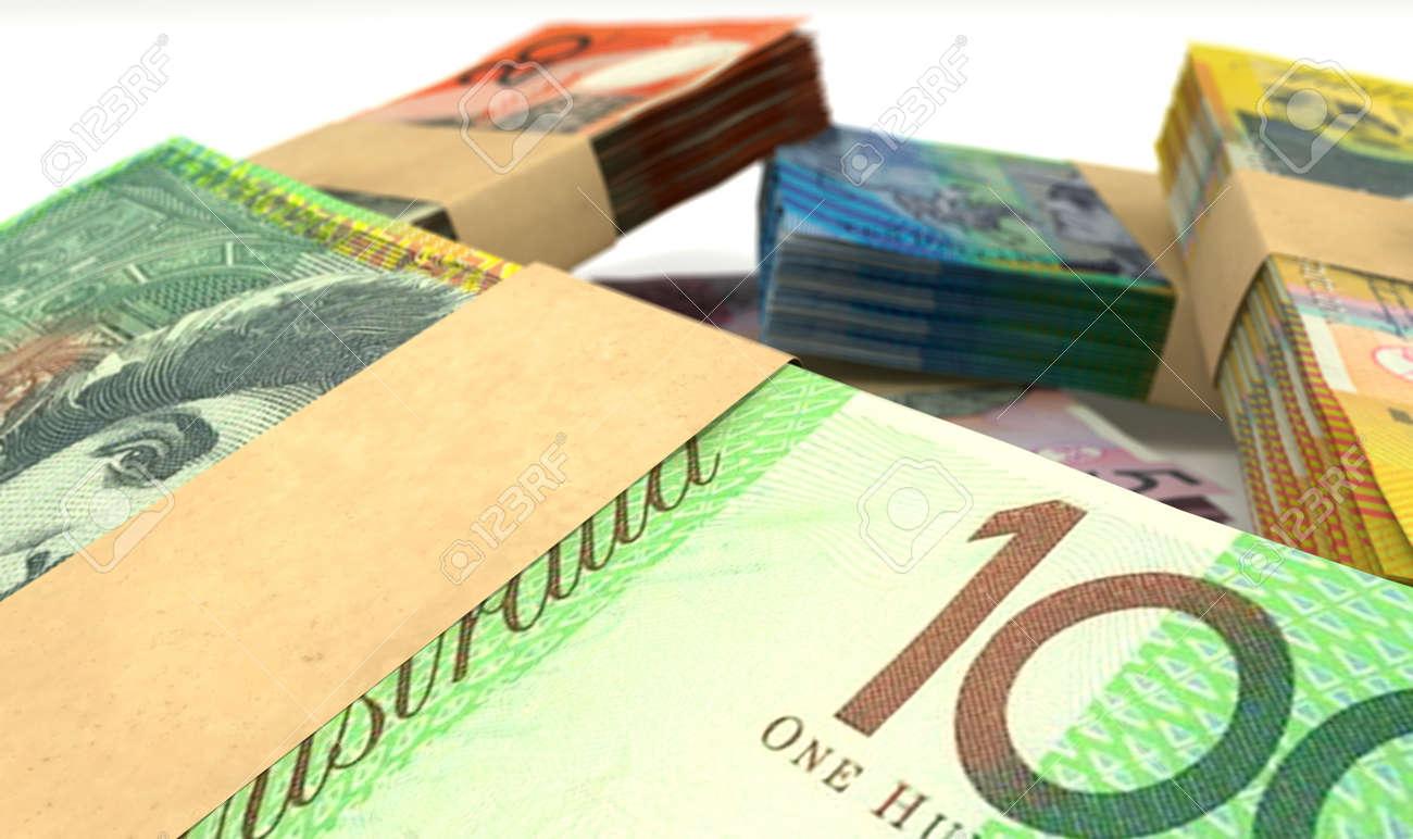 Ein Haufen Verstreut Australischer Dollar Banknoten In Stückelungen