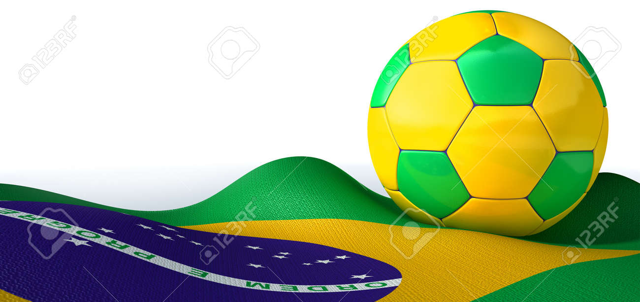 A regular stitched panel soccer ball in the iconic brazilian colors Stock Photo - 21960071