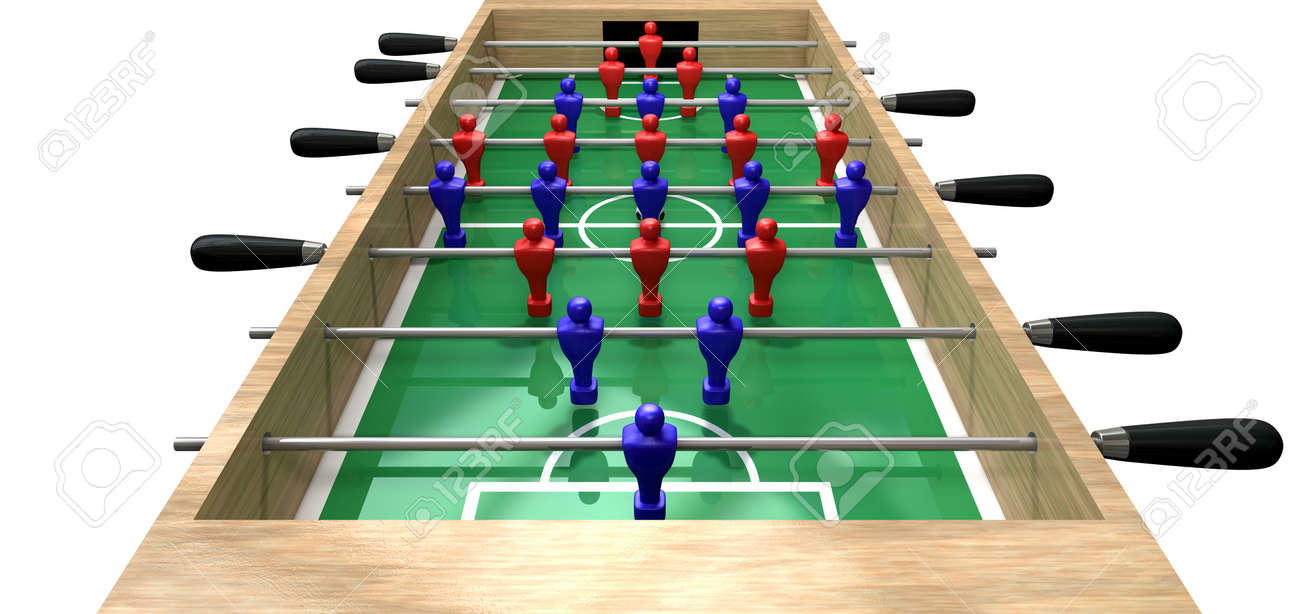 A Perspective View Of A Wooden Foosball Table Showing A Blue And Red Team  On A