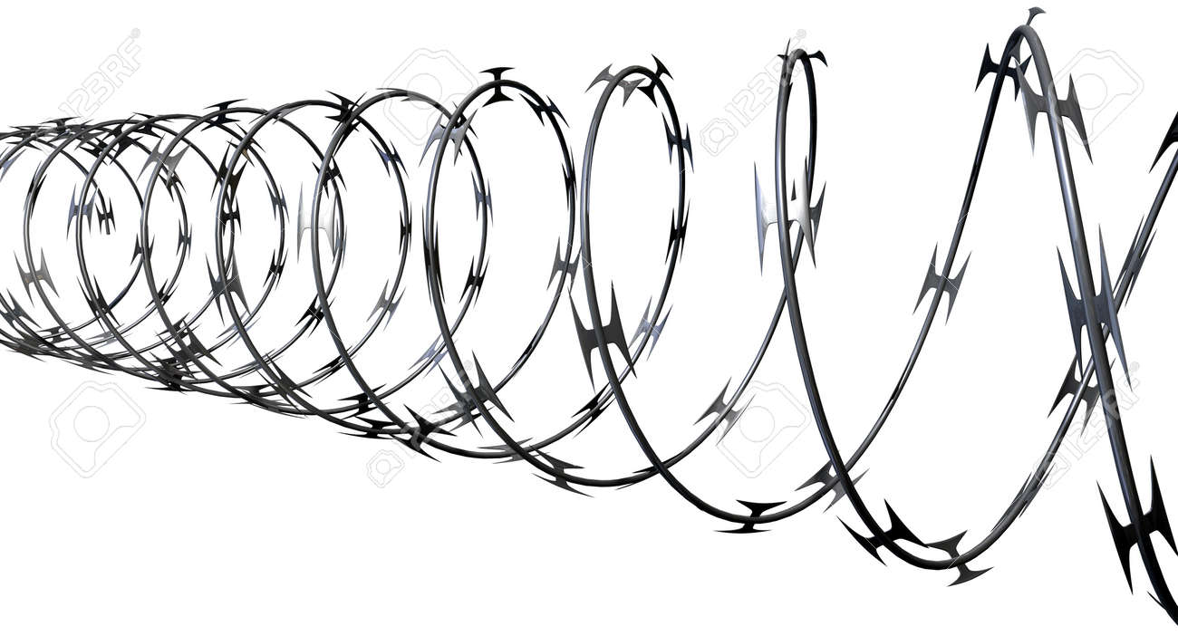 A Coil Of Razor Wire On An Isolated White Background Stock Photo ...