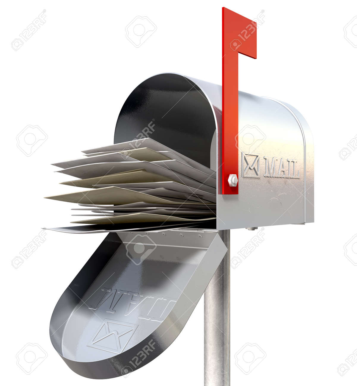 An perspective view of an open old school retro tin mailbox bulging with a pile of letters on an isolated background Stock Photo - 22426870