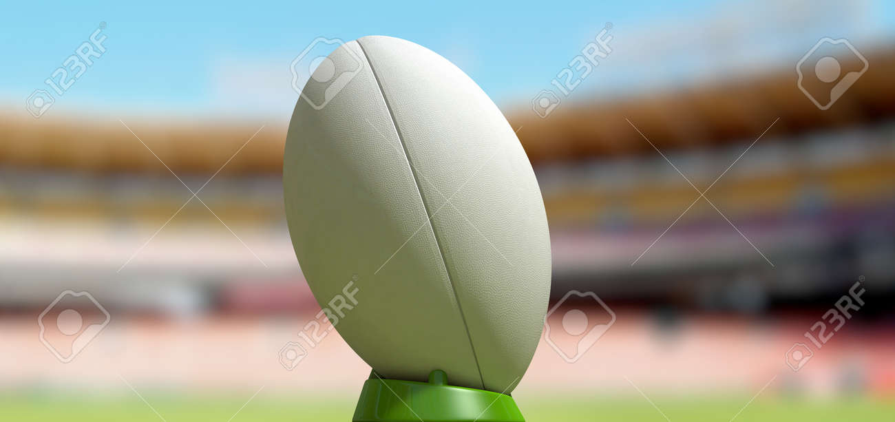 A Plain White Textured Rugby Ball On A Green Kicking Tee In A Stock Photo Picture And Royalty Free Image Image 22573461