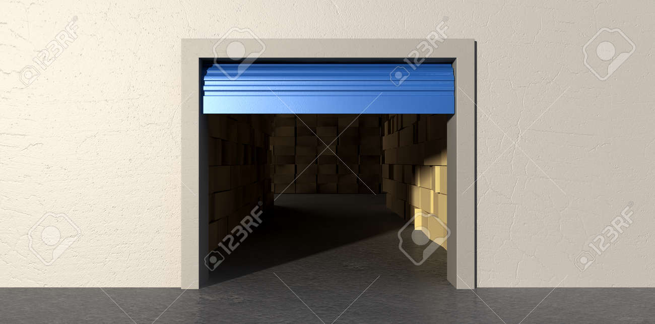 A front view of a storage room with an open blue roller door filled with stacks of cardboard boxes on an isolated white wall background Stock Photo - 22710618
