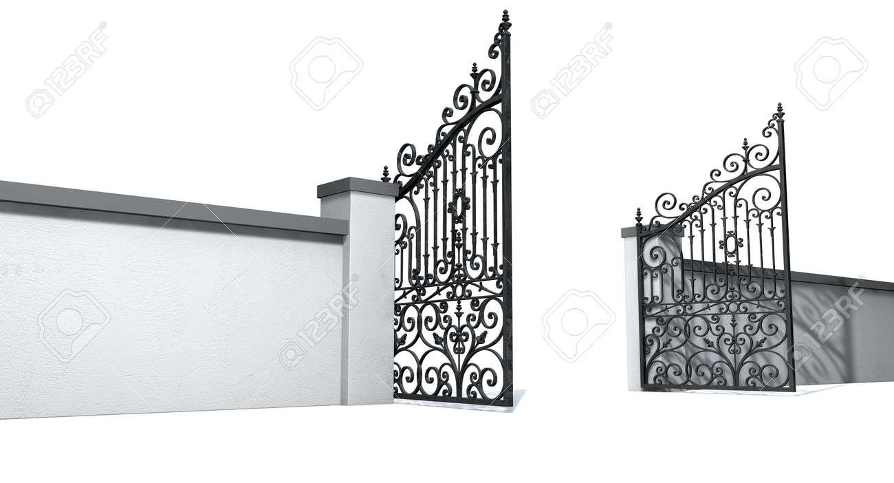 Un Mur De Jardin En Plâtre Solide Avec Une Porte Métallique Ouverte ...