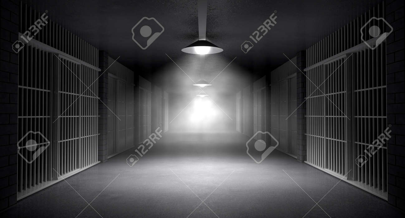 An eerie haunting corridor in a prison at night showing jail cells illuminted by various ominous lights - 23438958