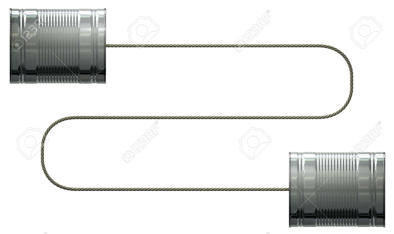 A stylised pair of homemade telephones made from tin cans and connected wth a string on an isolated white background Stock Photo - 23905938