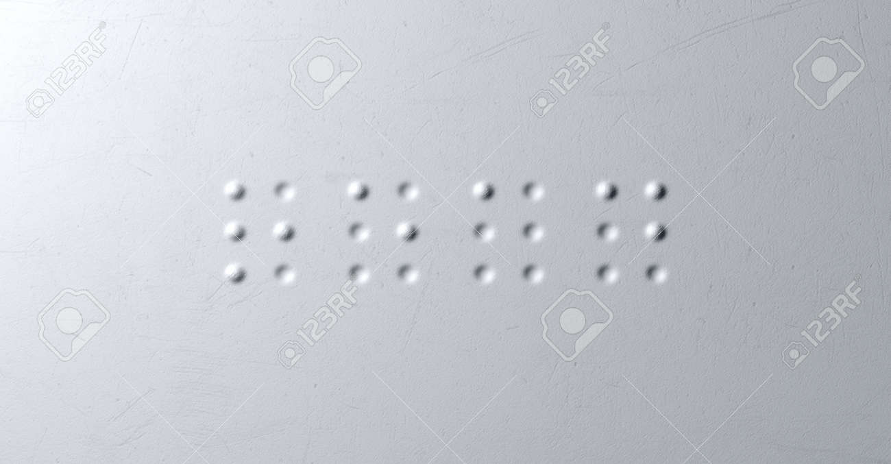 A closeup concept of a set of four isolated braille letters spelling out the word read on a textured white paper Stock Photo - 26048710