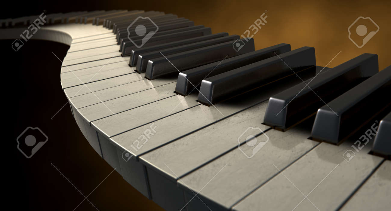 A full set of regular piano keys laid out creating a wave on a moody color background Stock Photo - 26959675