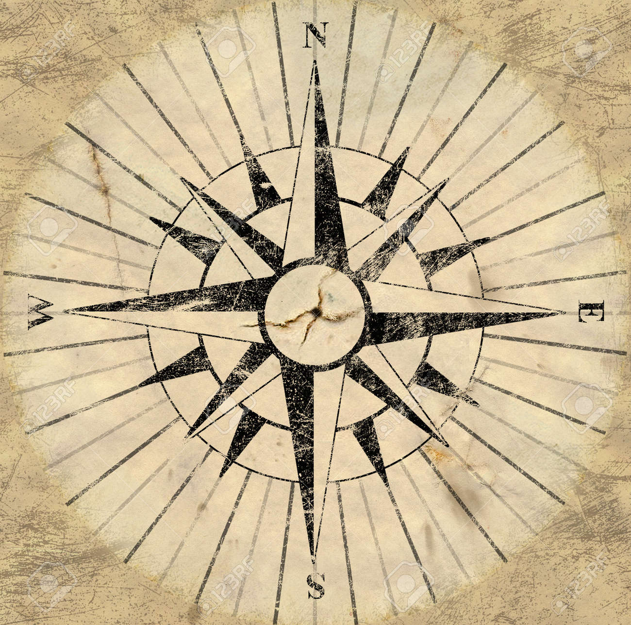 A Flat Version Of An Old Aged Compass Face Backing Stock Photo