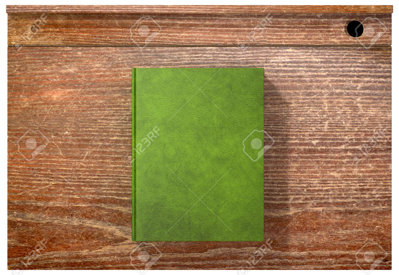 Beau A Direct Top View Of A Vintage School Desk And A Closed Blank Covered Book  On