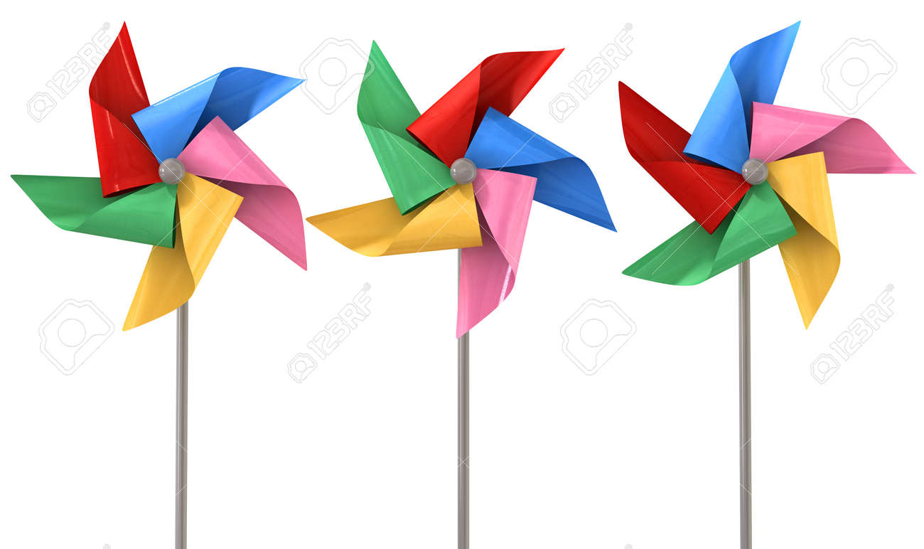 an array regular toy pinwheel windmills with five differently