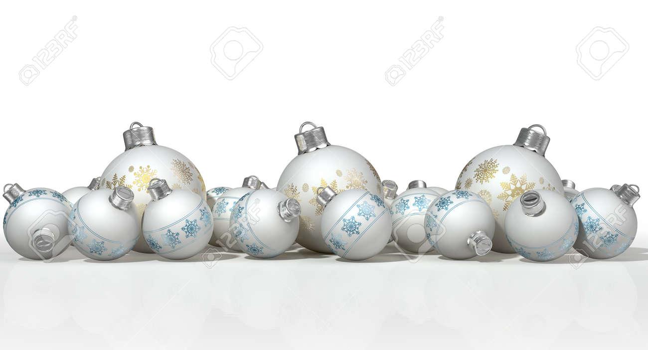 Weiße Christbaumkugeln Matt.Stock Photo