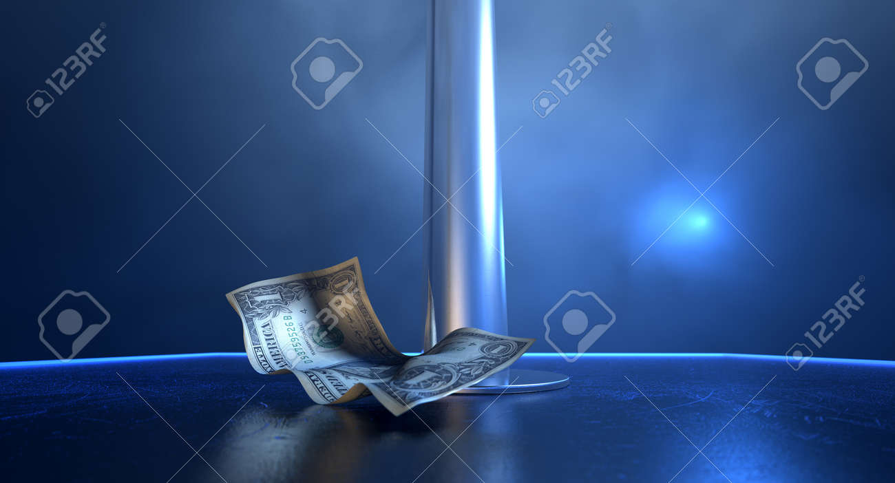 stripper pole  An isolated stripper pole on a stage lit by a single  spotlight with. Stripper Pole Stock Photos   Pictures  Royalty Free Stripper Pole
