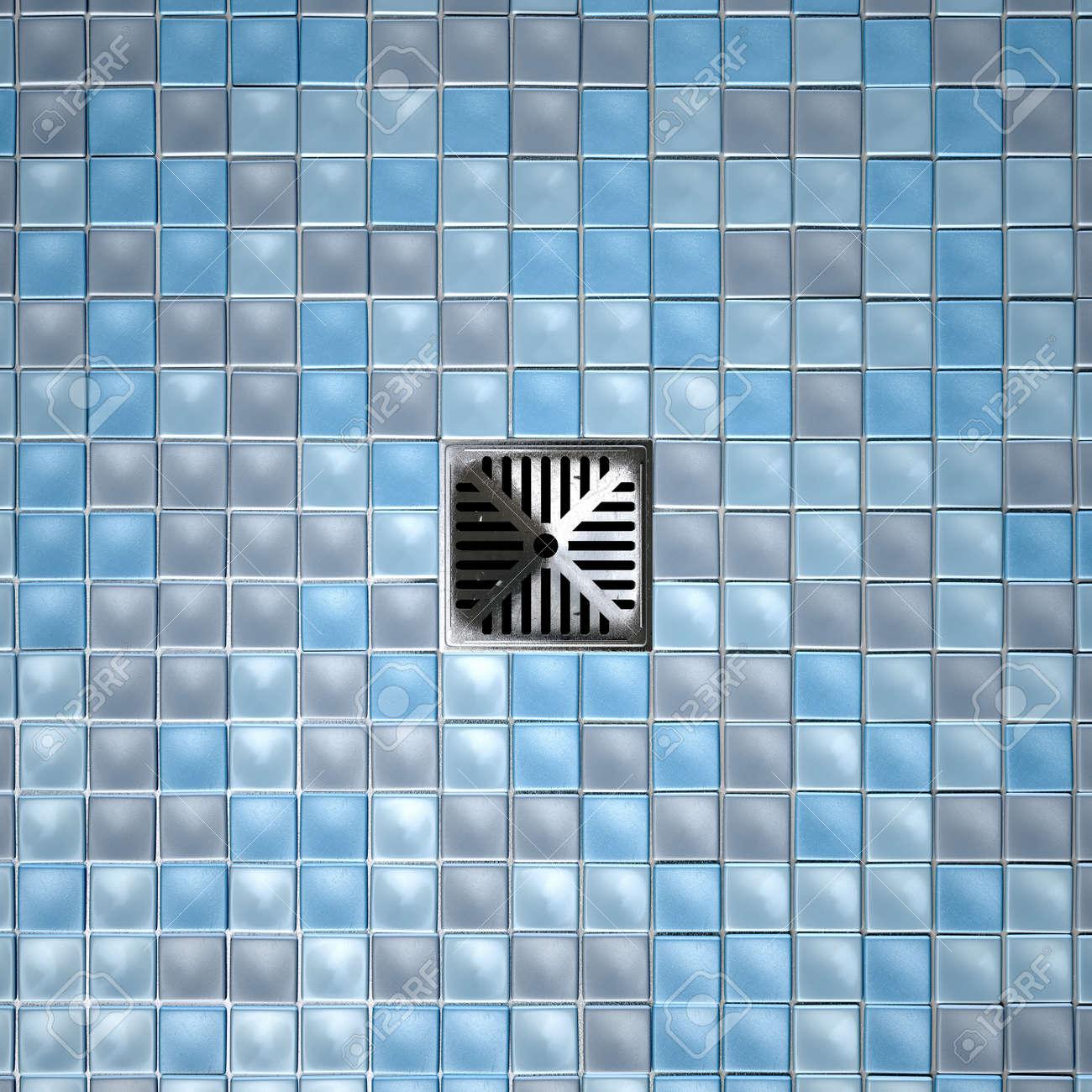 Una Doccia A Pavimento Decorato Con Una Collezione Di Tonalità Blu ...