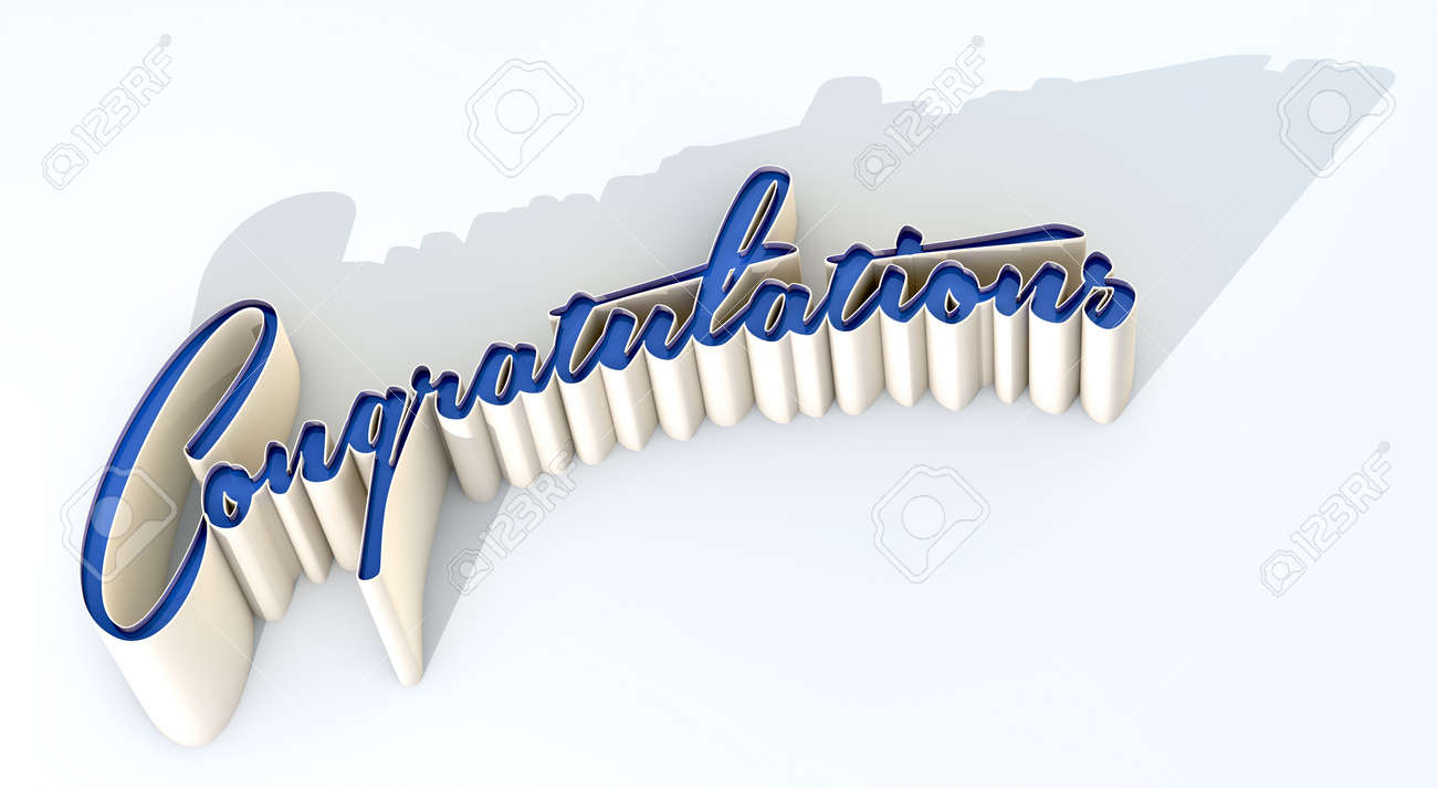 an extruded curvy text spelling out the word congratulations stock