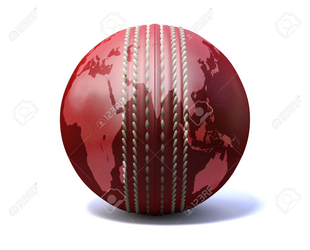 An red leather cricket ball with a world map projected onto it an red leather cricket ball with a world map projected onto it on an isolated on gumiabroncs Images
