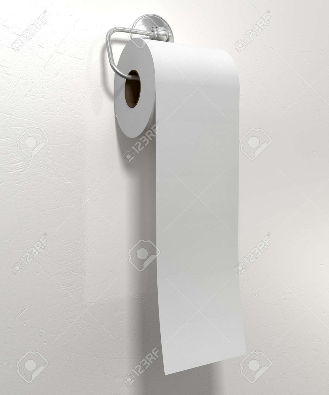 A Roll Of White Toilet Paper Hanging On A Chrome Toilet Roll Stock