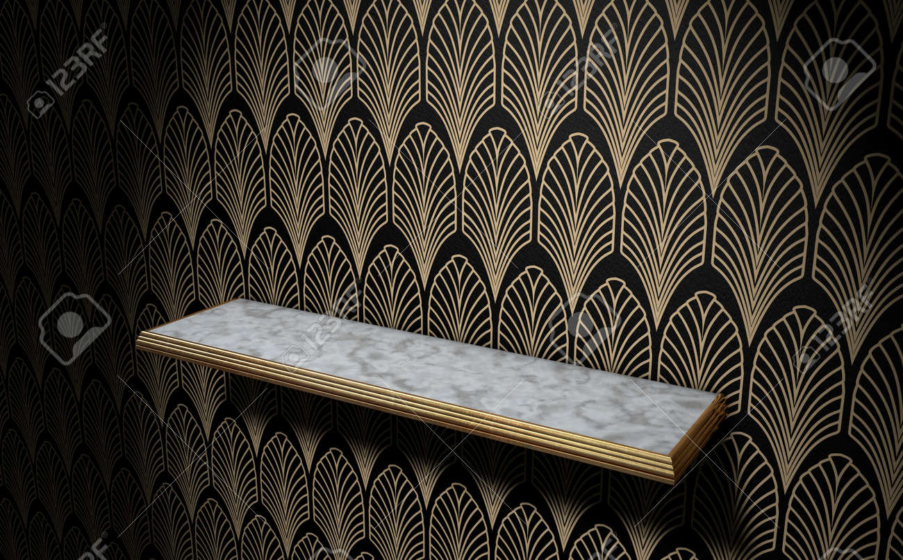 Un Vide Marbre Et D Or Garnis Etagere Sur Un Mur Vetu De Style Art
