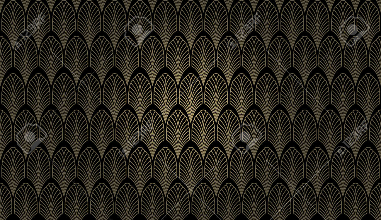 Un Motif De Papier Peint De Style Art Deco En Or Et Noir Banque D
