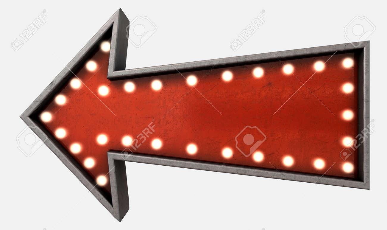 a belle epoque era red vintage arrow sign light by lightbulbs
