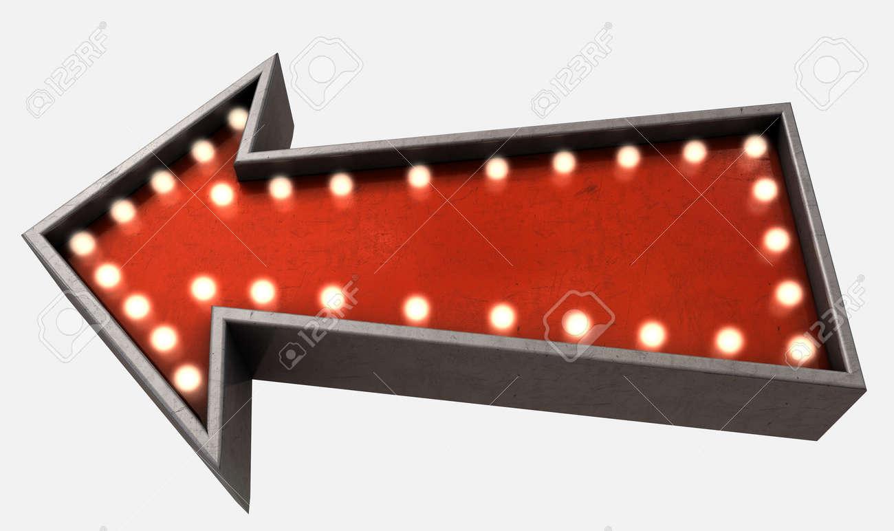 a belle epoque era red vintage arrow sign light by light bulbs