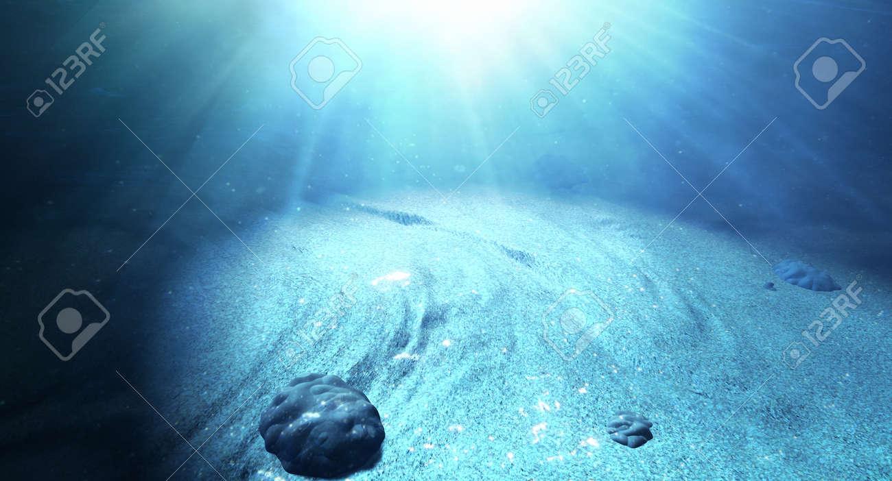 an underwater scene at the bottom of the ocean floor showing