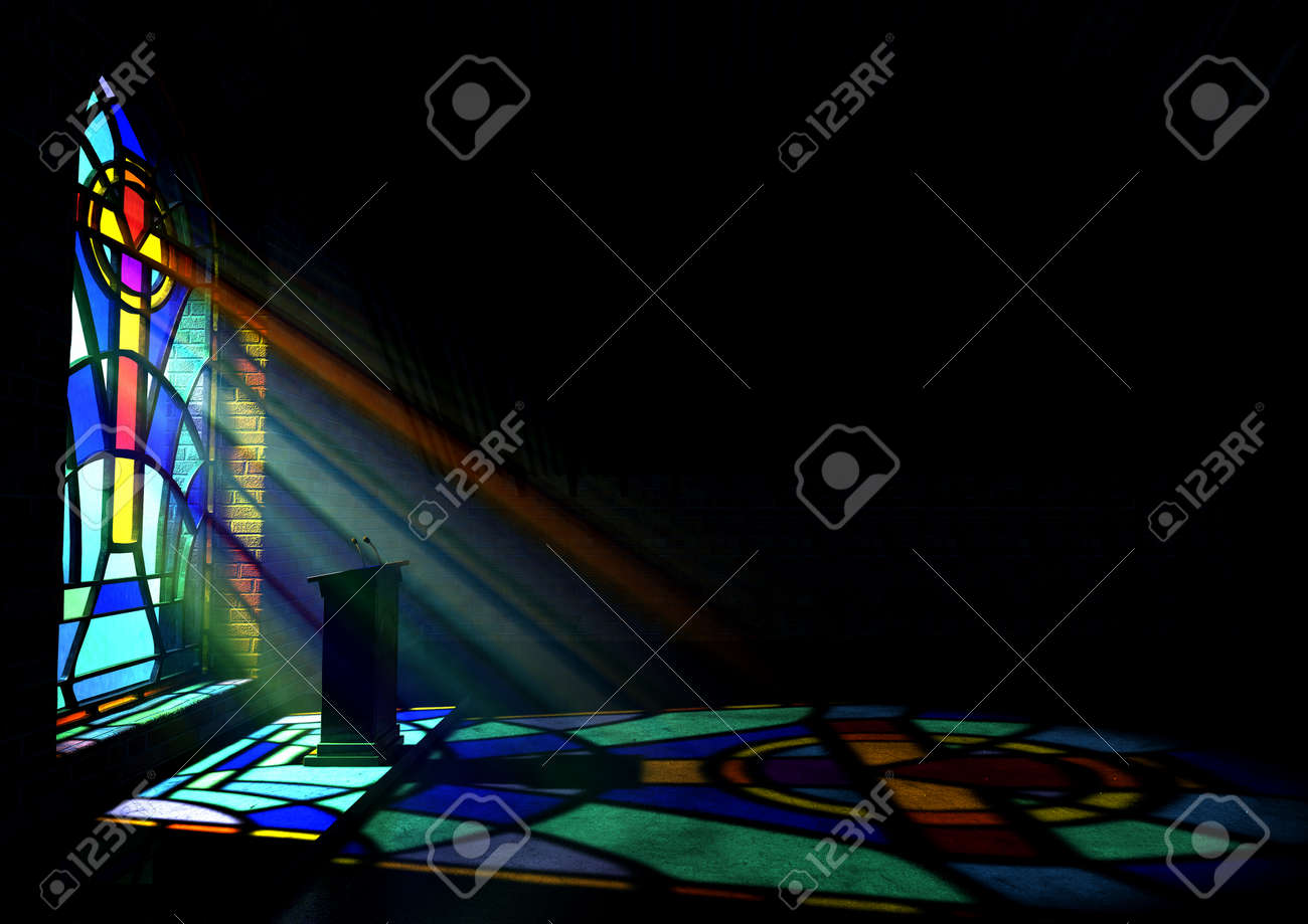 Stained Glass Window A Dim Old Church Interior Lit By Suns Rays Penetrating Through