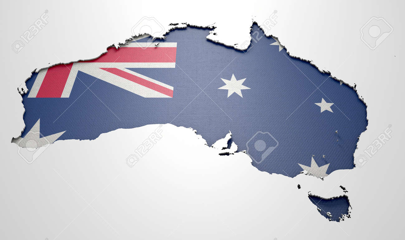 the shape of the country of australia in the colours of its