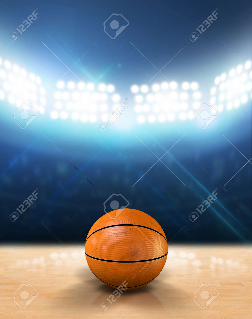 An Indoor Basketball Court With An Orange Ball On An Unmarked ...