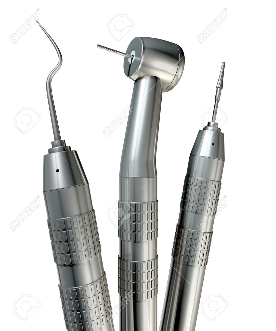 a set of steel dentists tools on an isolated studio background stock