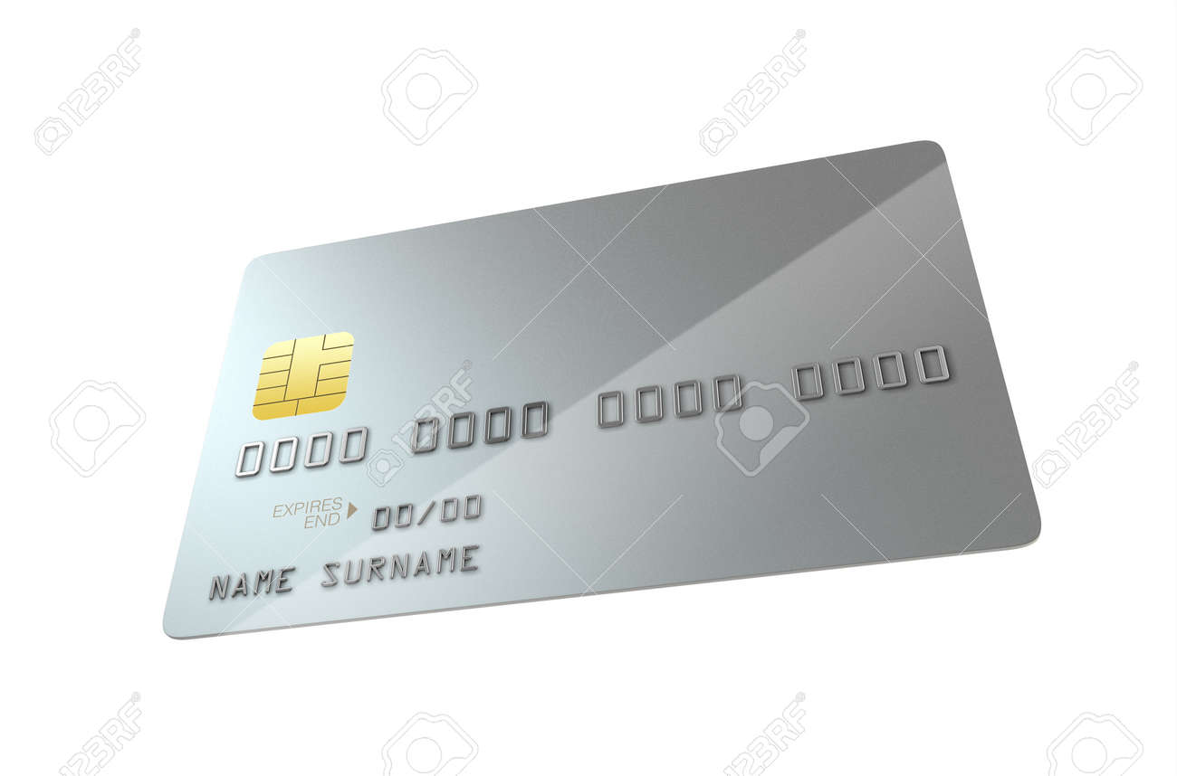 A Closeup View Of A Silver Generic Blank Bank Credit Card On.. Stock ...
