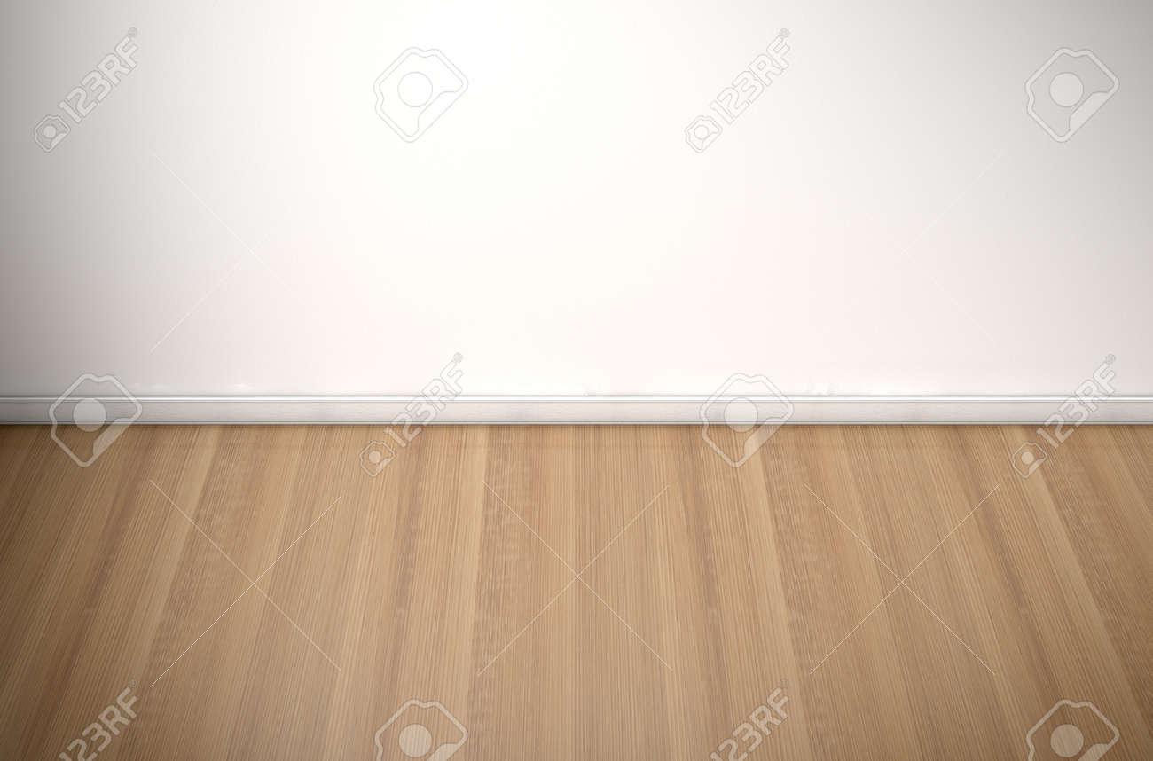 Ein Leeres Zimmer In Einem Haus Mit Weißen Wänden Und Einer Reflektierenden  Holzboden Standard Bild