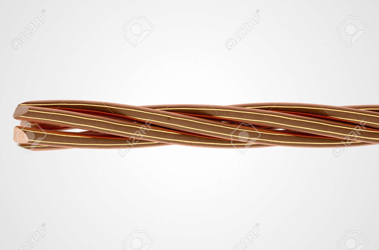 A Cable Made Up Of Twisted Strands Of Copper Wire On An Isolated ...
