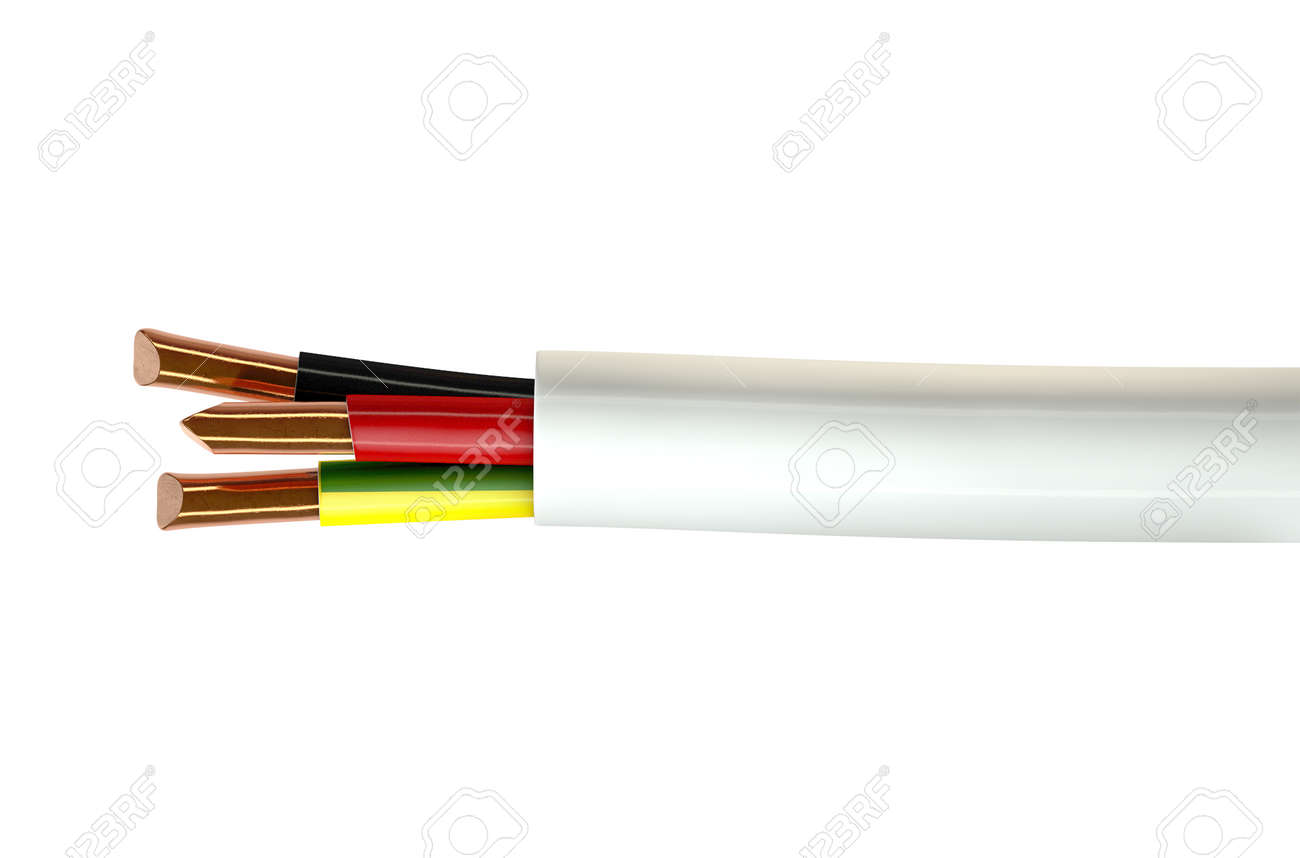 A Regular Three Core Insulated Electrical Cable With The Copper ...