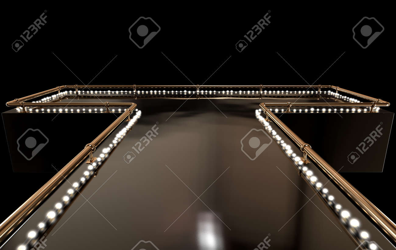 A regular empty stage with a bronze railing and a strip of lights on a dark background - 52542930