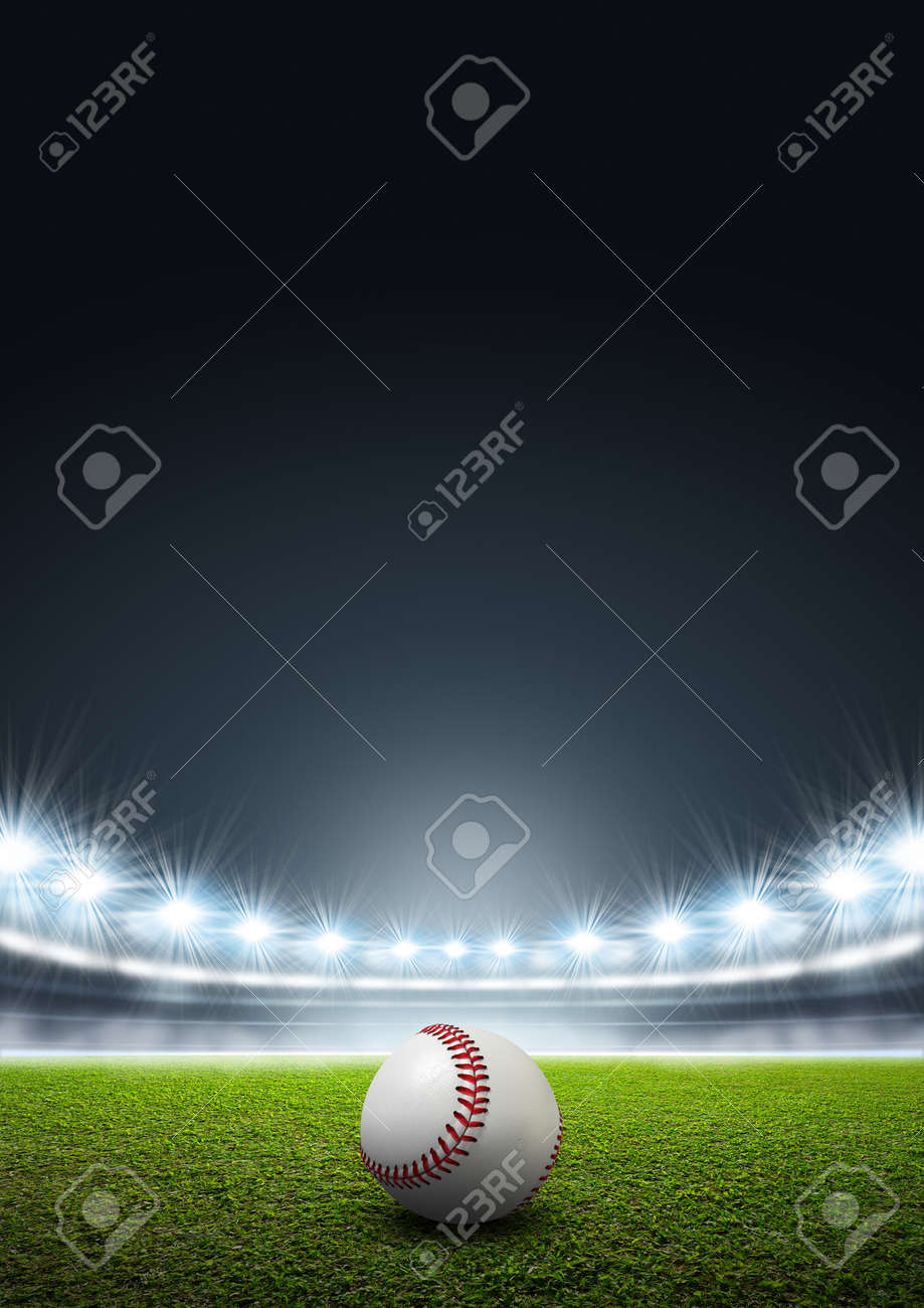 A generic stadium with an unmarked green grass pitch at night under illuminated floodlights and a baseball ball - 55276832